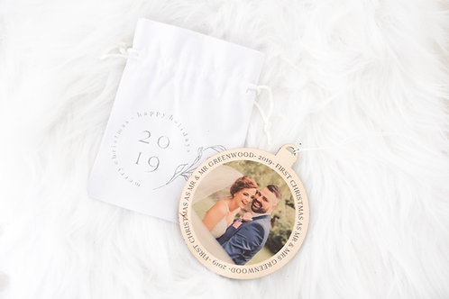 Wooden Personalised Christmas Bauble With Cotton Bag