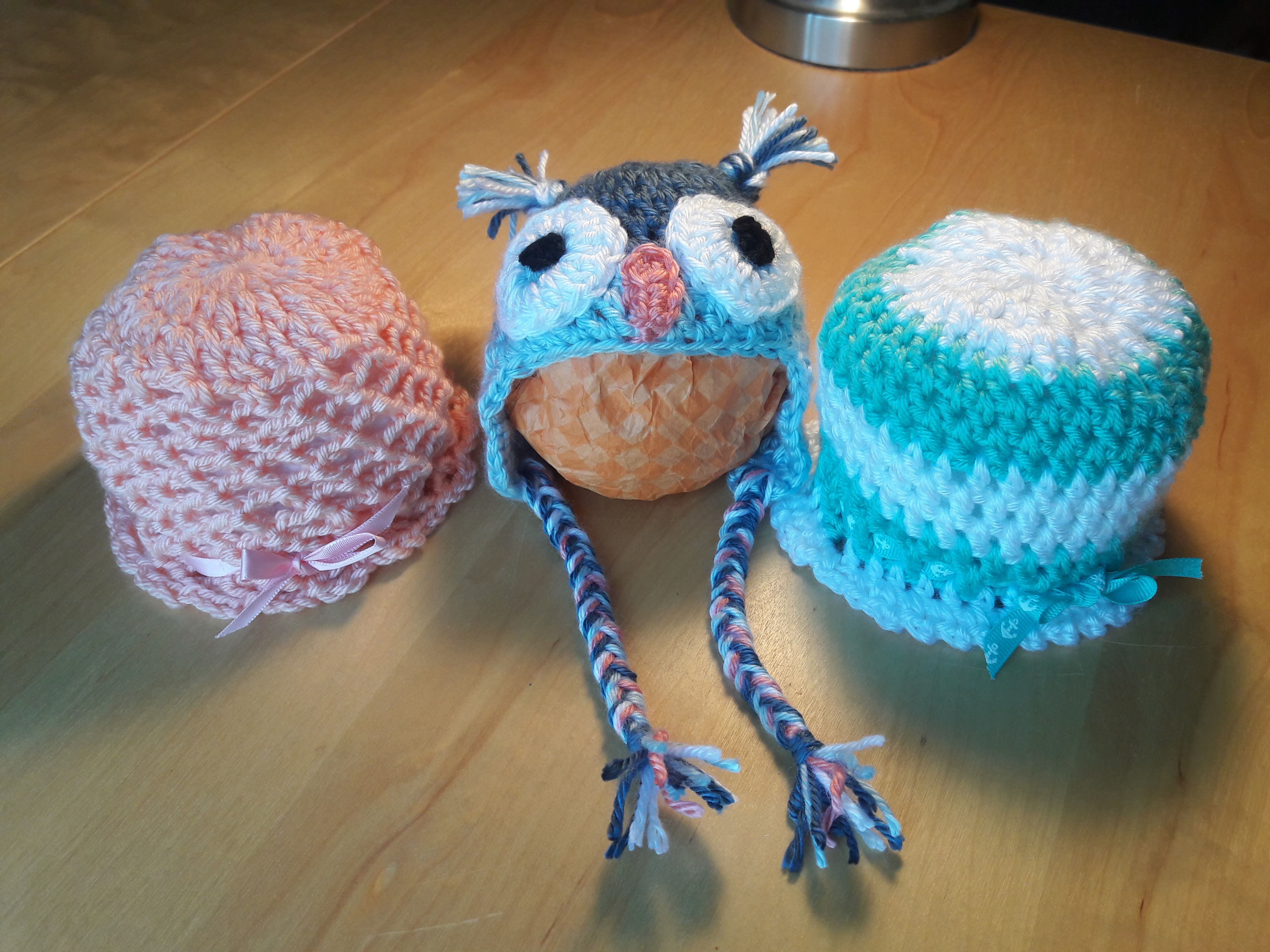 Owl and Two Girls hats