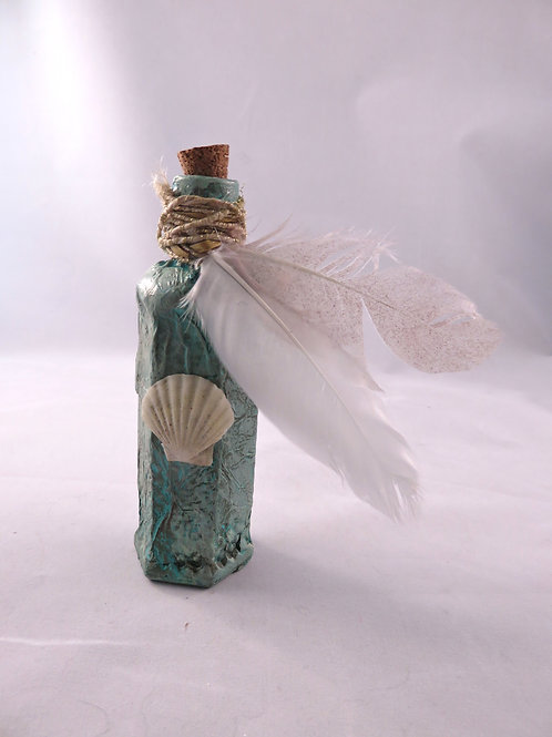 Mini Potion Bottle - Decoction - Seashell Teal with Feathers
