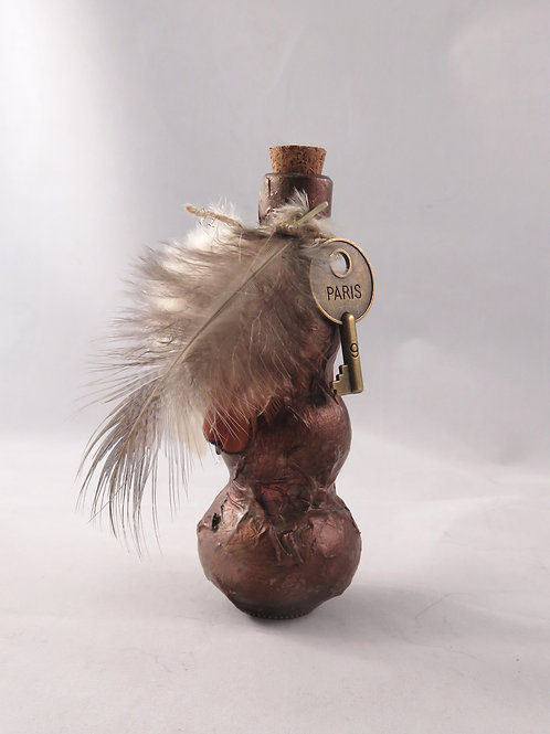 Mini Potion Bottle - Decoction - Copper Paris Key with Feathers