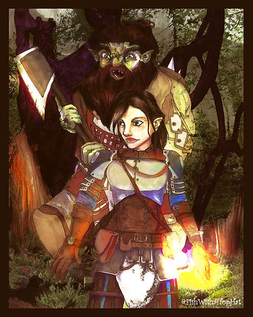 A hobgoblin wielding a greataxe swinging at an elven woman in armor. Her left hand holds a bright ball of magic. Artist: @FishWithATopHat.