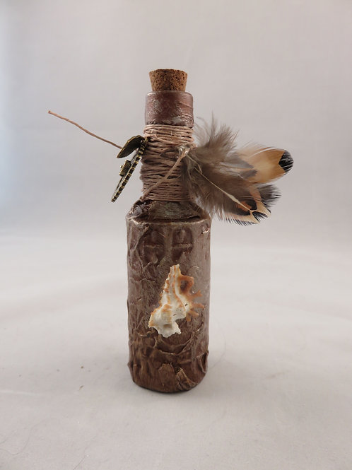 Mini Potion Bottle - Decoction - Seashell Copper with Feathers