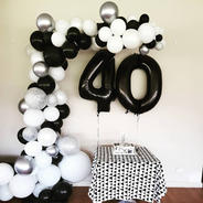 40th black, white, silver