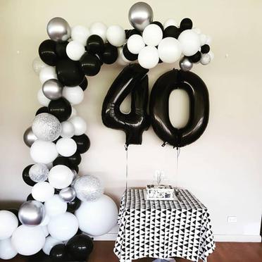 40th black, white, silver