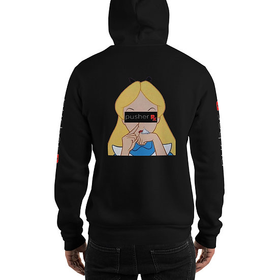Alice in pusherland Hoodie (white font)