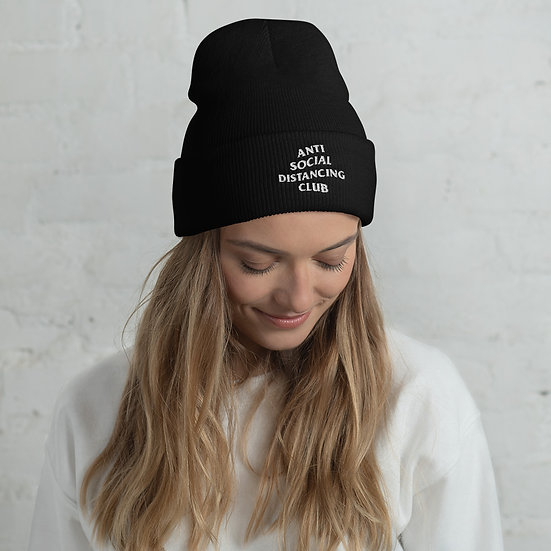 Anti Social Distancing Club Cuffed Beanie (black)