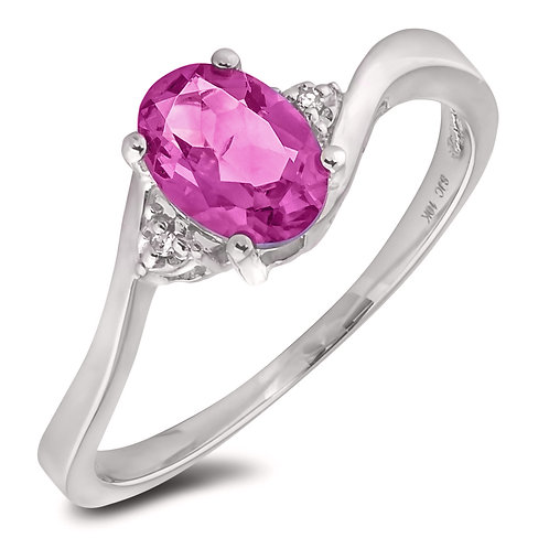 October Birthstone Ring - Pink Topaz