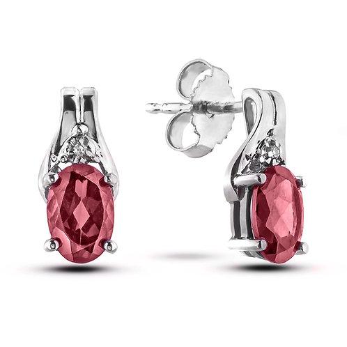 June Birthstone Earrings - Rhodolite