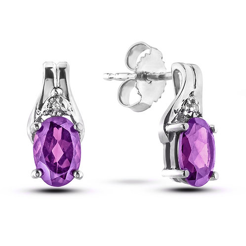 February Birthstone Earrings - Amethyst