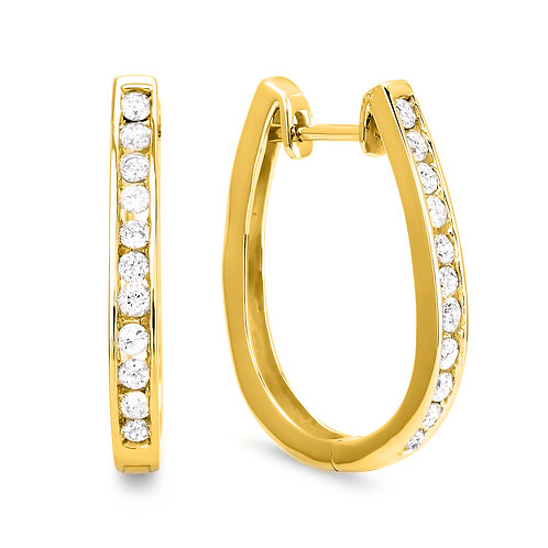 Diamond Hoop Earring Collection - Yellow Gold