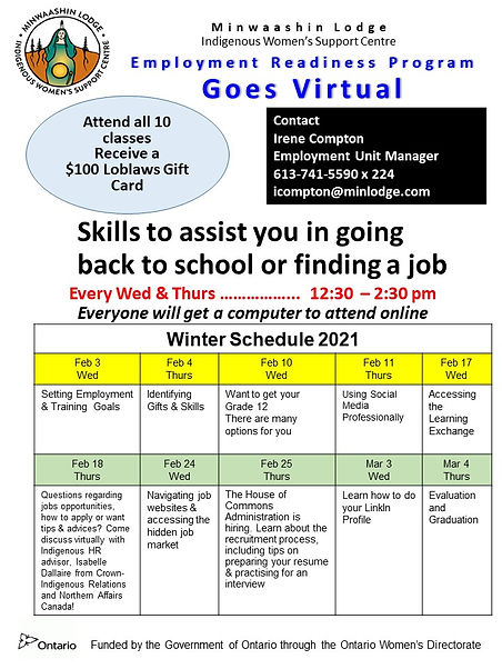 Employment Readiness start Feb 3 virtual
