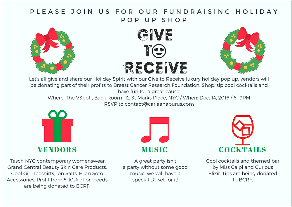NYC Fundraiser Holiday Popup Invitation - Give to Receive