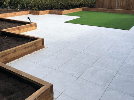 Porcelain and artificial grass