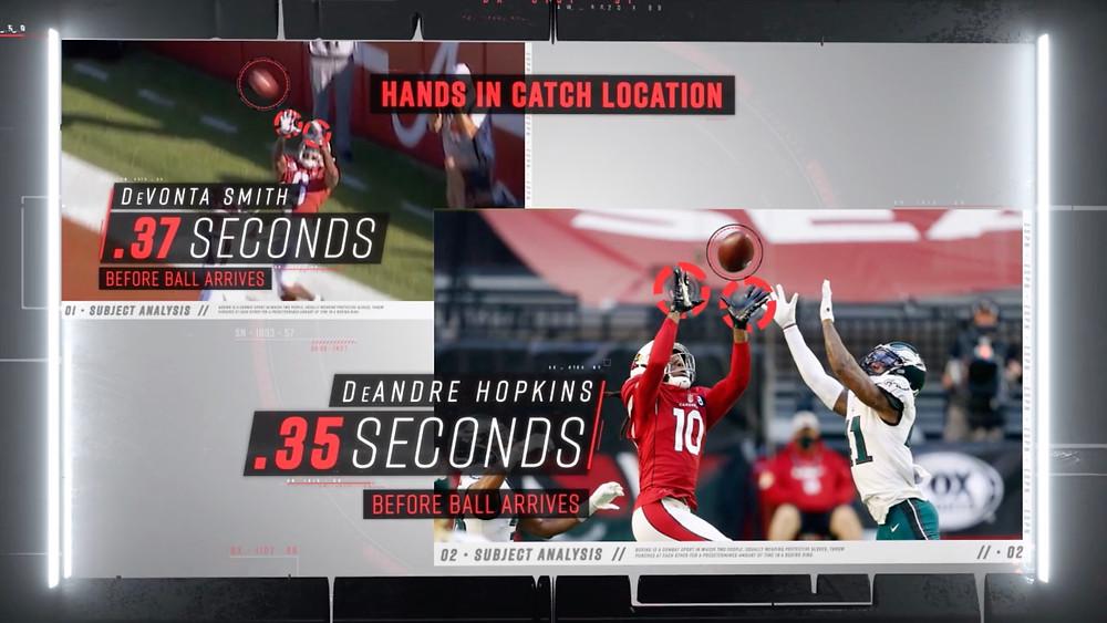 King Penguin ESPN Sport Science Devonta Smith Catch Point Comparison DeAndre Hopkins