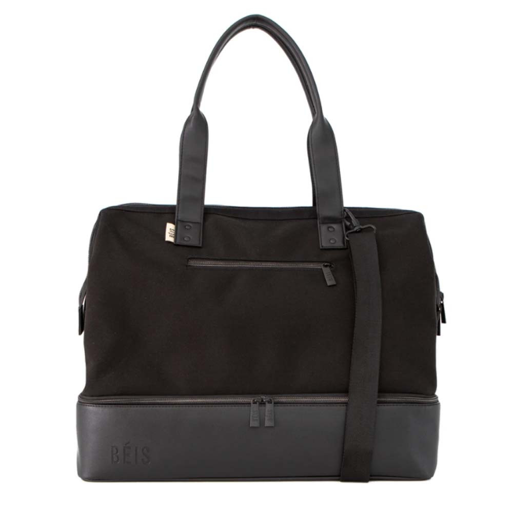 black weekender bag from beis by shay mitchell