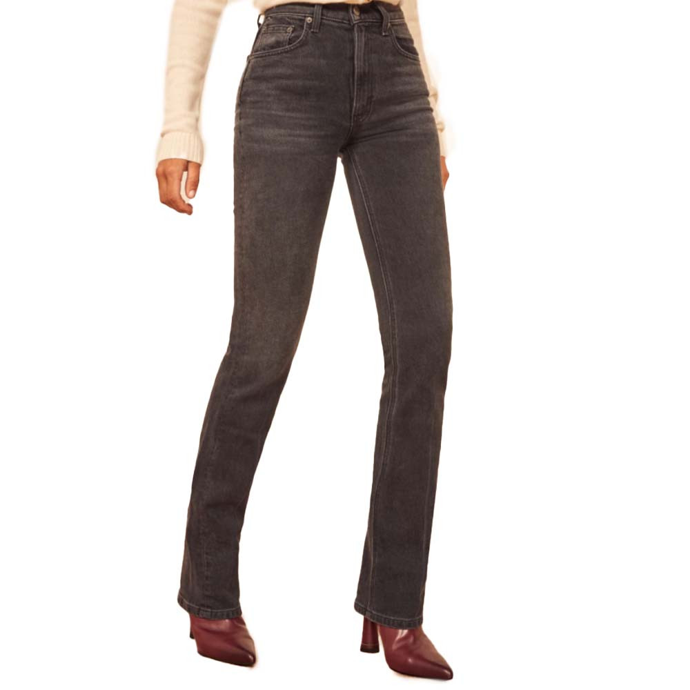 peyton high ride bootcut jeans in erie black denim from the reformation