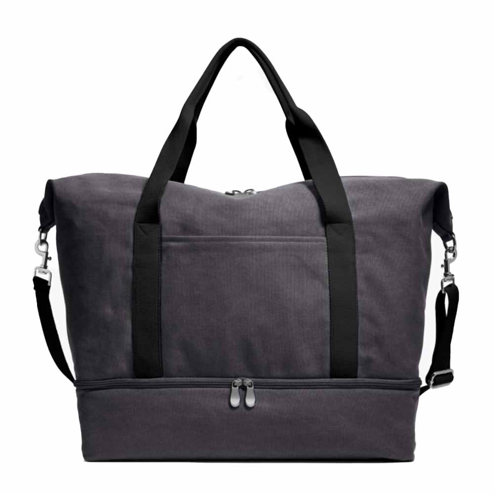 catalina deluxe weekender bag in washed grey canvas from lo and sons