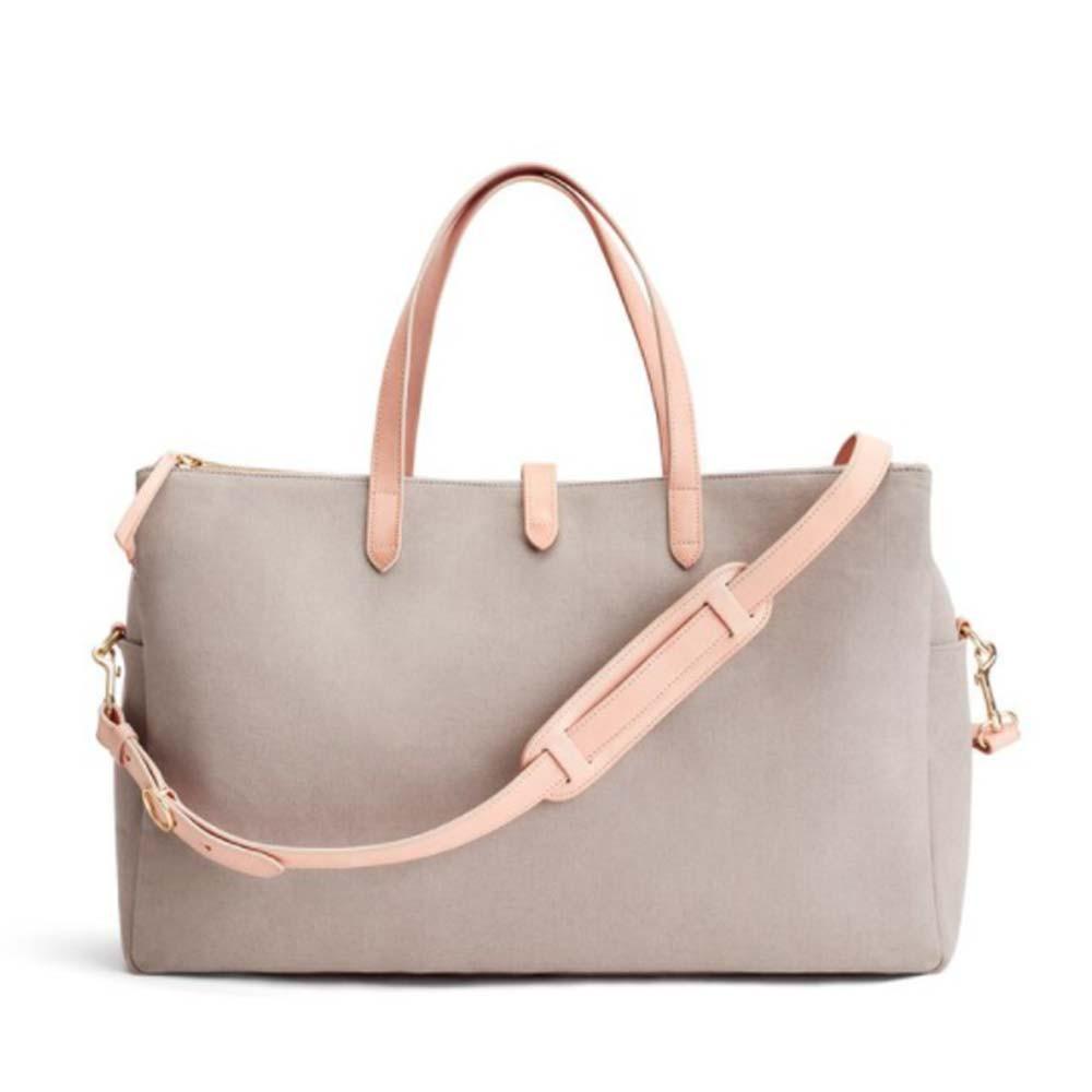 triple zipper weekender bag in soft grey/natural color from cuyana