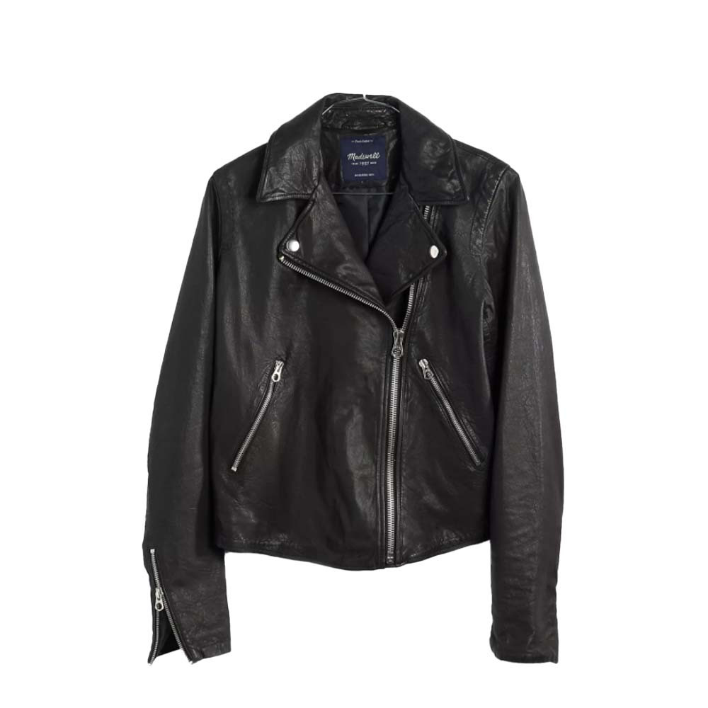 black leather motorcycle jacket from madewell