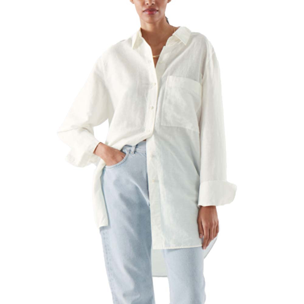 cos stores oversized linen shirt in white color