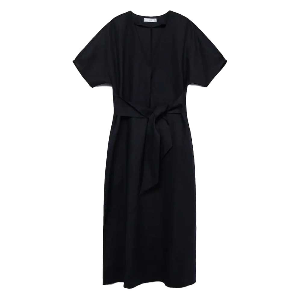 100% linen dress in black color from mango