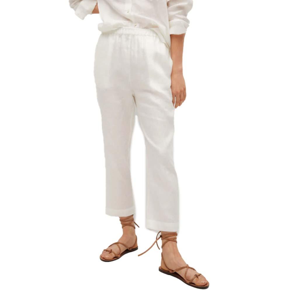 mango 100% linen pants in white color