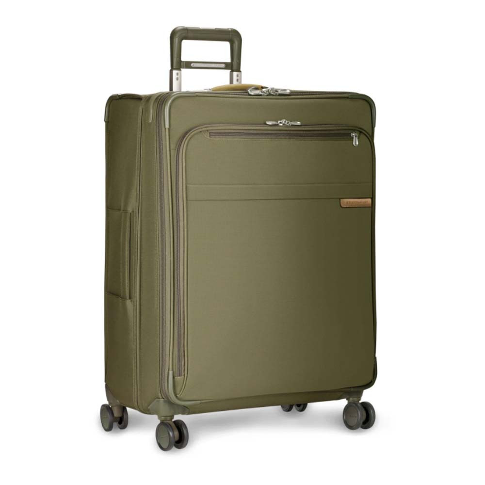 large expandable spinner suitcase in olive green color from briggs and riley