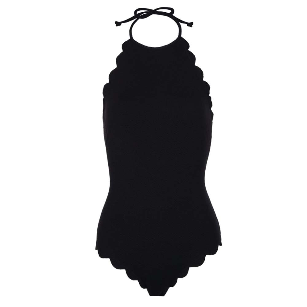 one piece swimsuit in black color with scalloped edges from marysia