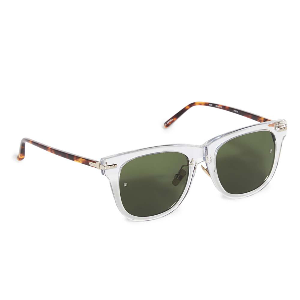 luxe chysler sunglasses in clear and tortoise shell from linda farrow