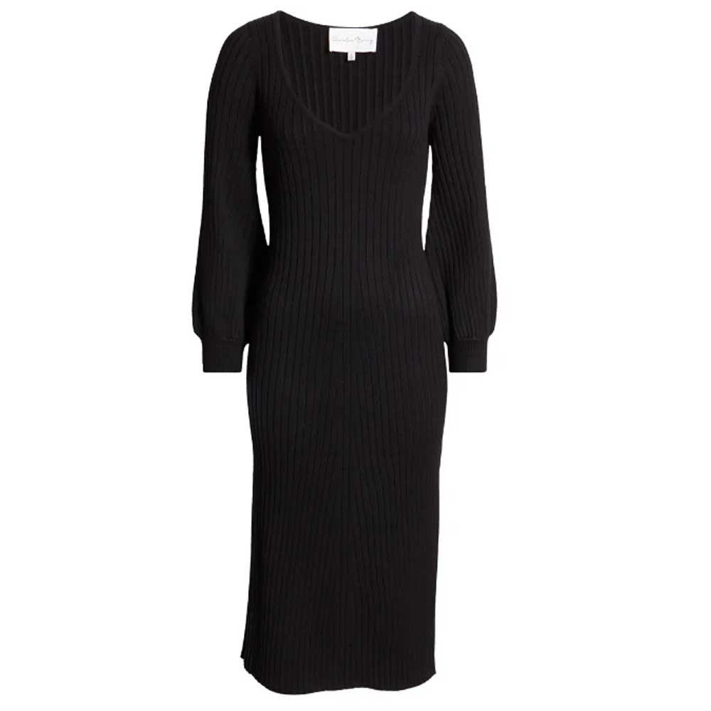ribbed body con dress with long bell sleeves in black color from charles henry