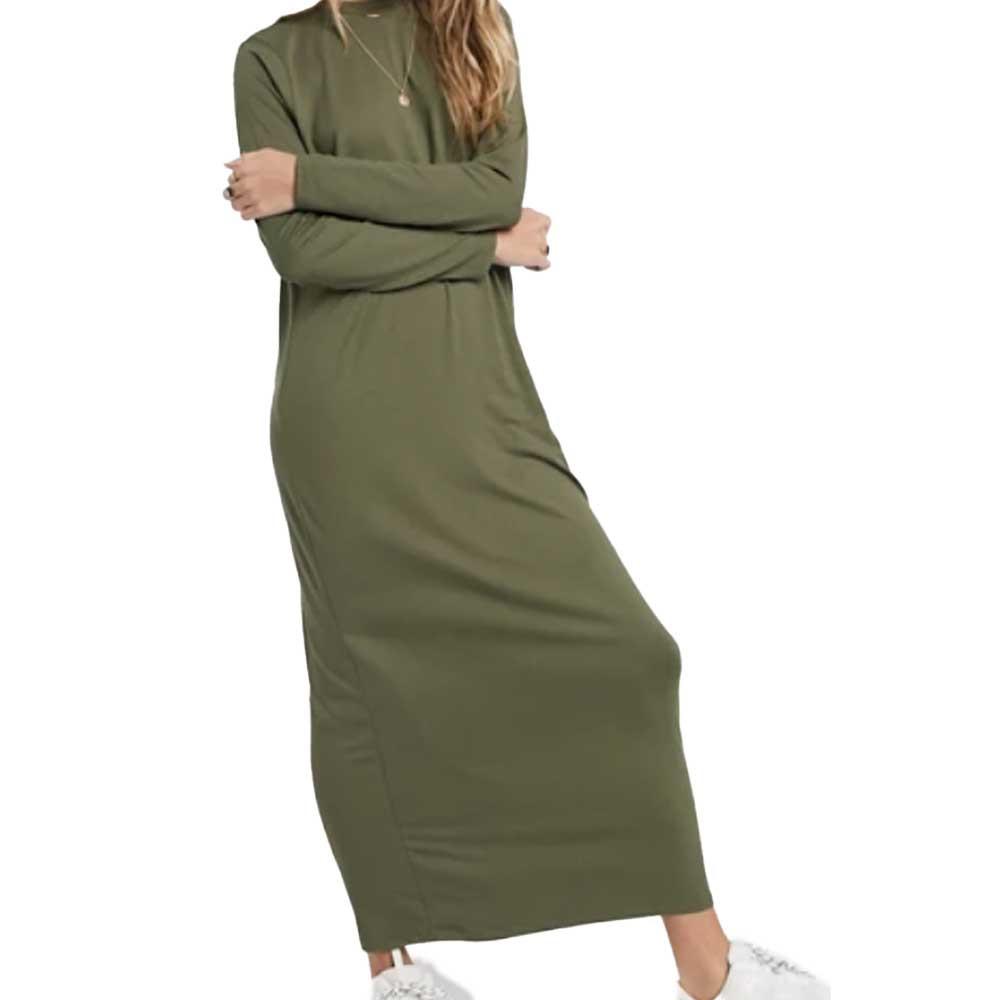 long sleeve tshirt maxi dress in khaki green color from asos design