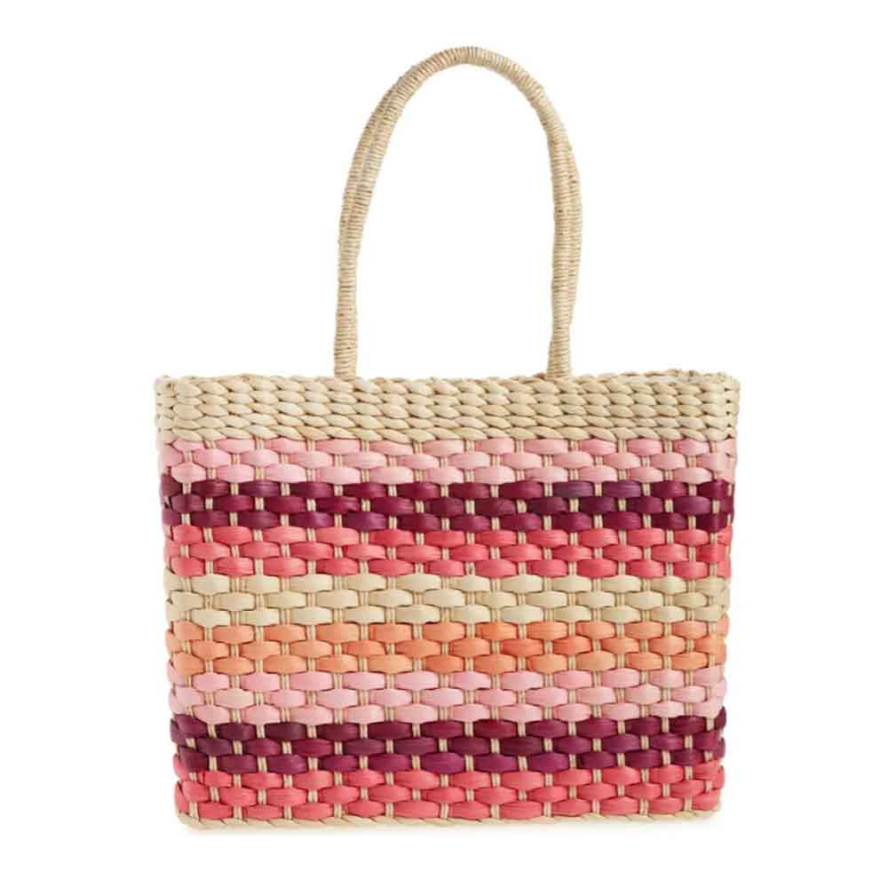 sandy beach woven tote in fuchsia color from btb los angeles