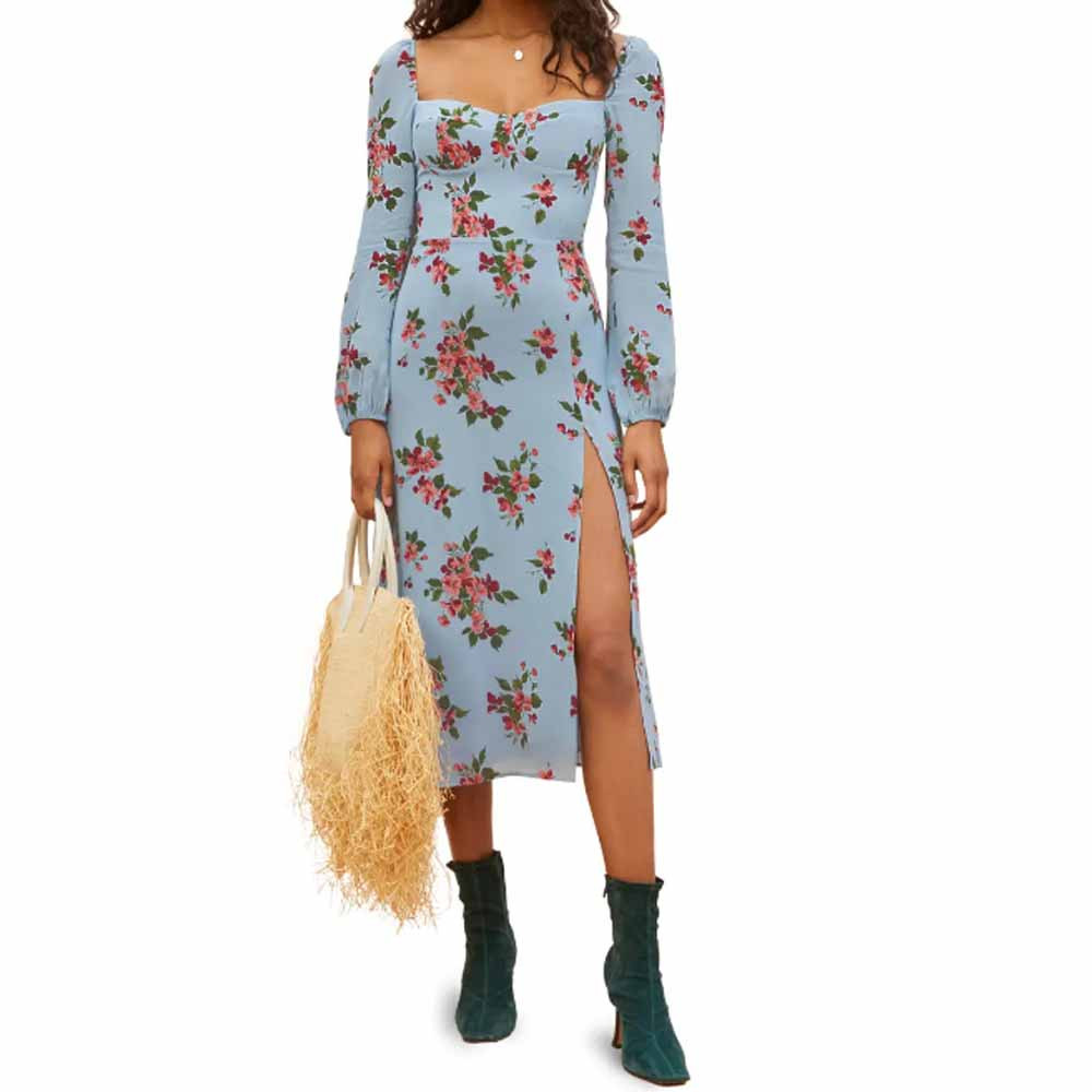 shelby floral long sleeve dress from reformation