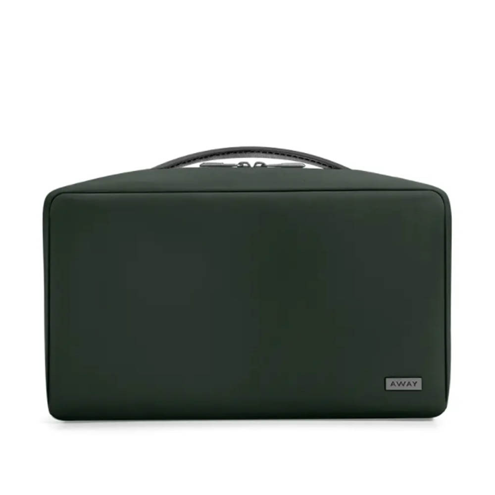 large toiletry bag in green nylon from away travel