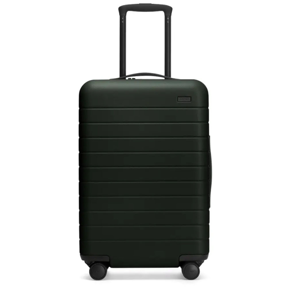 the bigger carry-on suitcase in dark green from away travel