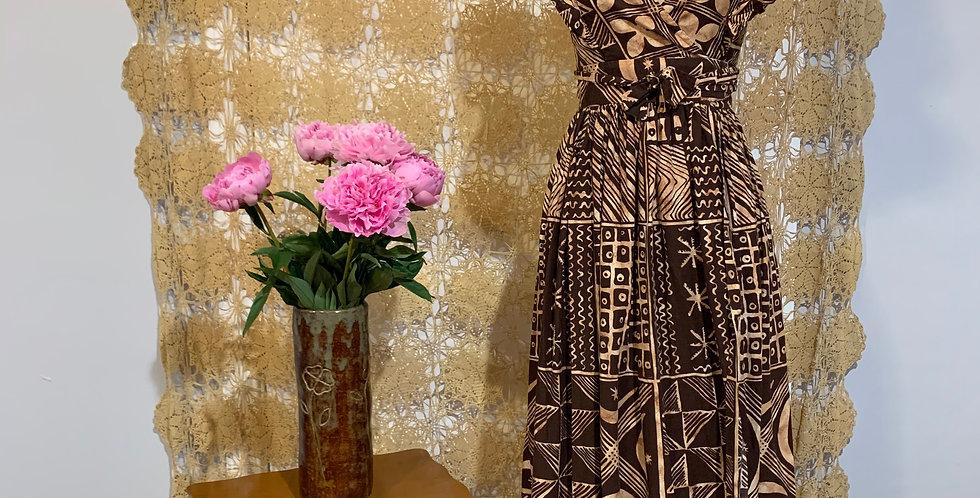 1950s Polynesian Print Wrap Dress