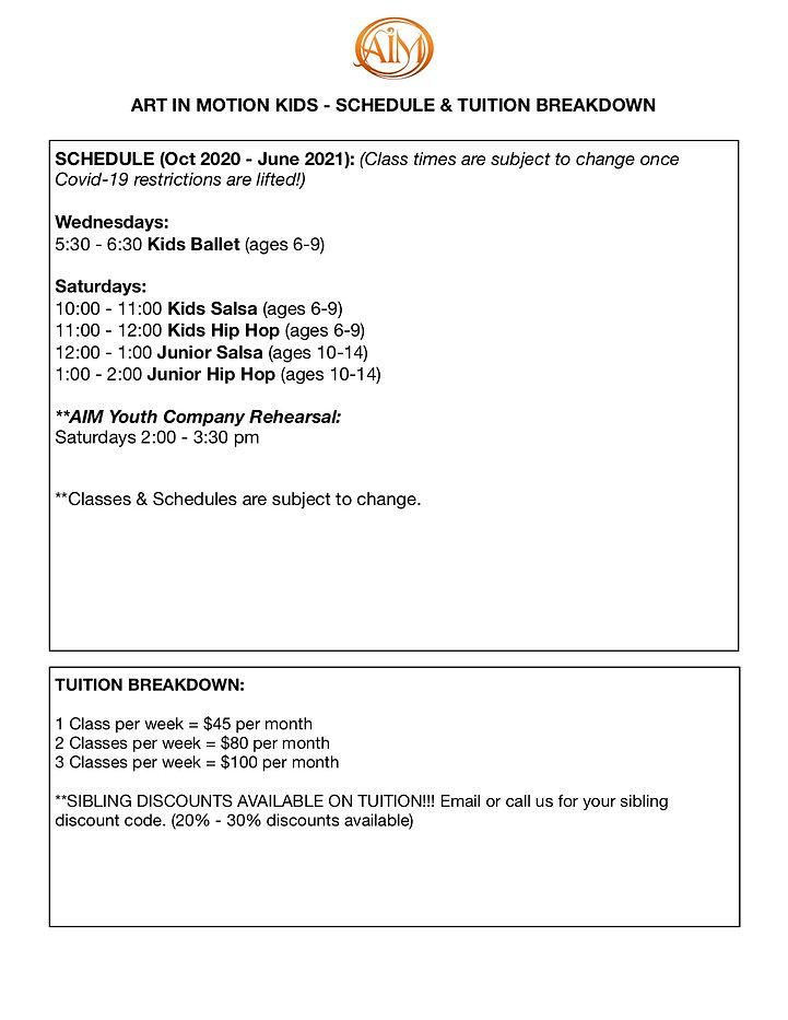 KIDS SCHEDULE & TUITION BREAKDOWN 2020:2