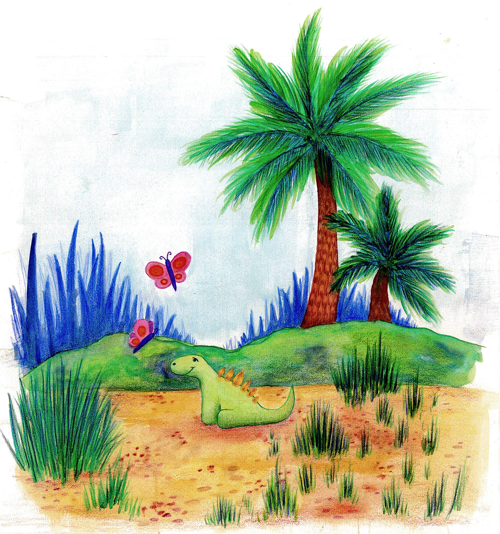 children book illustration dinosaur stegosaurus