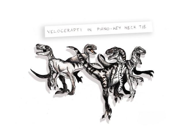 Velocerapti in Piano-Key Neck Tie
