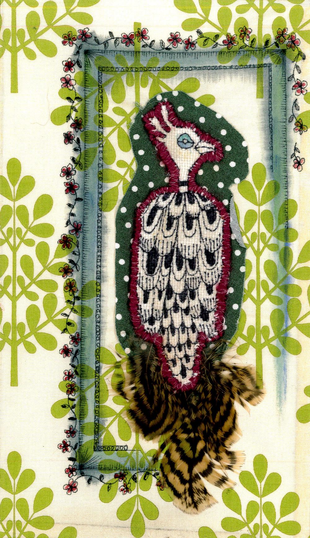 textile illustration hand sewn embroidery bird