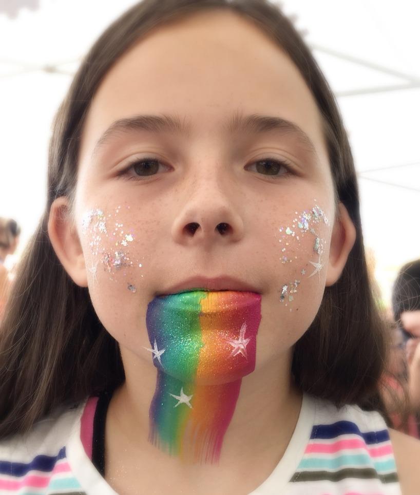 Rainbow Barf Face Painting