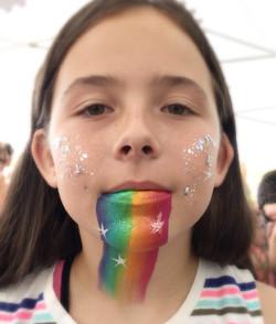 Face Painting, Rainbow Barf, Rainbow, Glitter