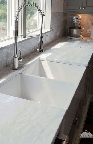 Farmers Sink with White Carrara Marble Counters