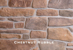 Chestnut Rubble Stone installed on a wall.