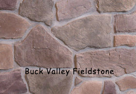 Buck Valley Fieldstone installed on a wall