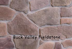 Buck Valley Fieldstone installed on a wall