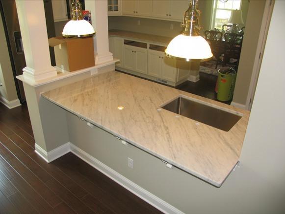 White Carrara Marble Kitchen Counter