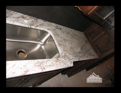 Sienna Bordeaux Leather granite countertop with sink