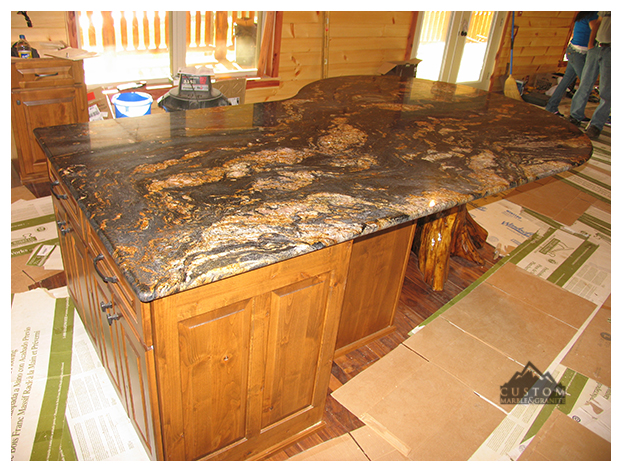 Magma Gold Granite Kitchen Island