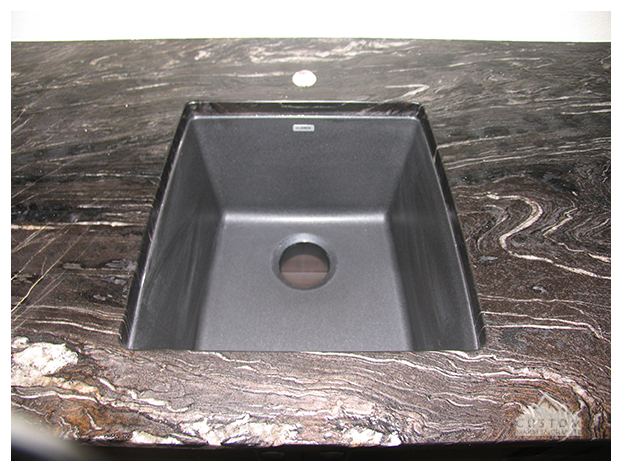 Riverwashed Cyclone Granite bar top with black sink